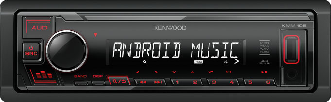 Авто MP3 KENWOOD KMM-105RY 4x50W, USB / AUX / MP3, WMA, FLAC / Съемная панель