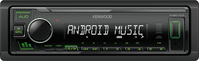 Авто MP3 KENWOOD KMM-105GY 4x50W, USB / AUX / MP3, WMA, FLAC / Съемная панель