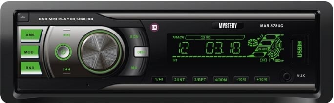 Авто MP3 MYSTERY MAR-878UС 4*50W, SD,MMC / USB / AUX / ISO / RCA / мультиколор