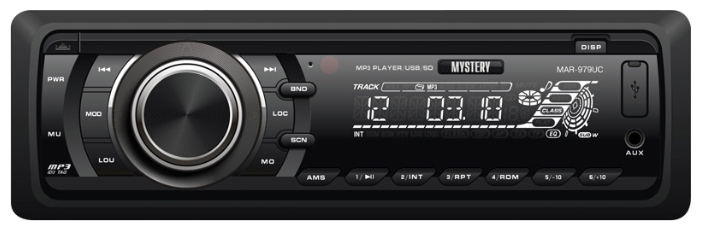 Авто MP3 MYSTERY MAR-979UС 4*50W, SD,MMC / USB / AUX / ISO / RCA / мультиколор