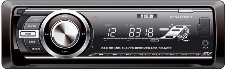 Авто MP3 MYSTERY MAR-877UС 4*50W, SD,MMC / USB / AUX / ISO / RCA / мультиколор