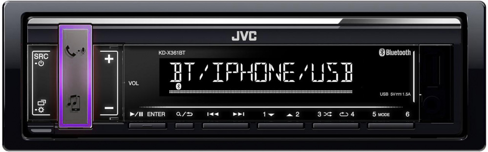 Авто MP3 JVC KD-X361BT Bluetooth, iPod/ iPhone, 4x50W, USB, AUX, RCA-Out, RGB-подсветка