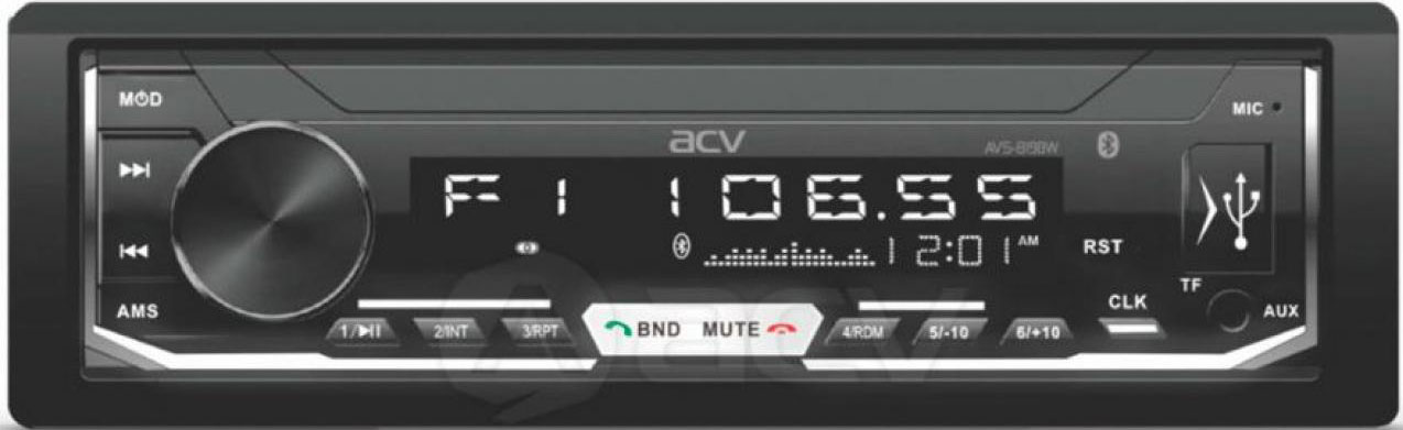 Авто MP3 ACV AVS-819BW BLUETOOTH USB/SD, 4*50W, AUX Белая подсветка