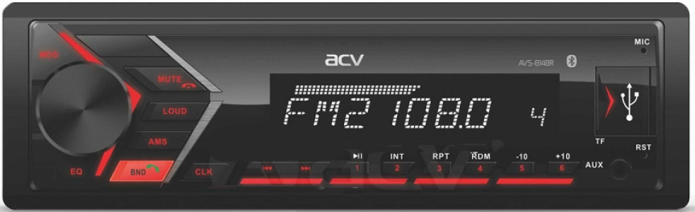 Авто MP3 ACV AVS-814BR BLUETOOTH USB/SD, 4*50W, AUX